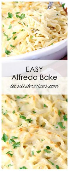 Easy Alfredo Bake: Classic Alfredo sauce is combined with linguine and baked to perfection in the crowd-pleasing recipe! Alfredo Sauce Recipe Easy, Pasta With Alfredo Sauce, Pasta Bar, Chicken Alfredo, Recipe Pasta, Linguine Recipes, Yummy Pasta Recipes, Baked Chicken Recipes, Cooking Recipes