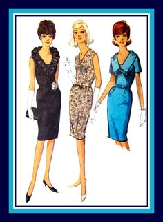 Vintage 1964- COCKTAIL WIGGLE DRESS-Sewing Pattern-Three Style-Sexy Neck Ruffle-Lovely Lace Overlay-Shaped Collar-Bow-Uncut-Size 18-Rare by FarfallaDesignStudio on Etsy