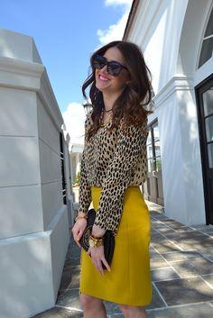 J crew leopard dress and yellow skirt + Tory burch bag + Zara heels + Karen walker sunnies