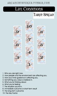 Life Conditions Tarot Spread found on Pinterest. Coming Soon - over 300 #tarot spreads (video and printable) To access them please visit our fast growing website:>>>>>> www.TarotAcademy.org | Oracle Layout | Tarot Card Reading | Divination | Fortune Telling