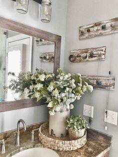 Master Bathroom Makeover Reveal- Farmhouse Style - Decoration For Home Rustic Bathroom Decor, Rustic Farmhouse Decor, Farmhouse Style, Bathroom Ideas, Bathroom Designs, Bathroom Organization, Organization Ideas, Bathroom Gallery, Modern Farmhouse