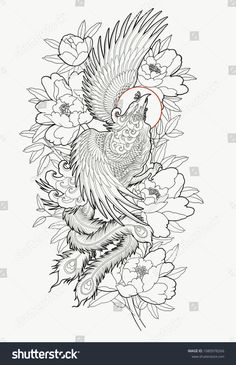 Find Hand Drawn Phoenix Flower Outline Tattoo stock images in HD and millions of other royalty-free stock photos, illustrations and vectors in the Shutterstock collection. Thousands of new, high-quality pictures added every day. Phönix Tattoo, Tattoo Video, Lace Tattoo, Body Art Tattoos, Japanese Phoenix Tattoo, Japanese Tattoo Art, Japanese Sleeve Tattoos, Phoenix Design, Phoenix Tattoo Design