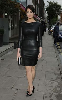 Little black dress in faux leather with three-quarter length sleeves. Conservative and understated style, but when paired with pleather creates a more edgy look.. Buy the supplies to make this: http://mjtrends.com/pins.php?name=faux-leather-for-dresses