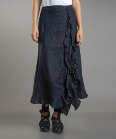 Dark Navy Ruffle Linen Maxi Skirt #zulilyfinds   $64.99 as of 08-04-14