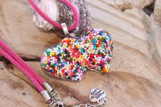 Sprinkle Heart Necklace Yummy Double Heart by tranquilityy on Etsy