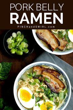 Even though I love pork belly ramen, I'm not crazy about soggy pork belly. I want it to be crispy on the edges! In this pork belly ramen re. Pork Ramen Recipe, Ramen Recipes, Asian Recipes, Cooking Recipes, Healthy Recipes, Noodle Recipes, Hawaiian Recipes, Pork Belly Recipes, Soups