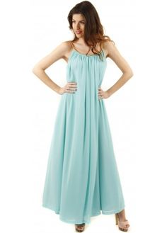 Aqua Grecian Maxi Dress With Plaited Gold Rope Straps