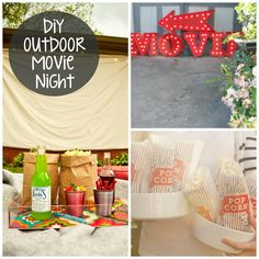 DIY Outdoor Movie Night Ideas - Party Favors, Decorations and Supplies Outdoor Movie Party, Movie Night Party, Family Movie Night, Party Time, Backyard Movie Nights, Outdoor Movie Nights, Outdoor Cinema, Outdoor Theatre, Outside Movie