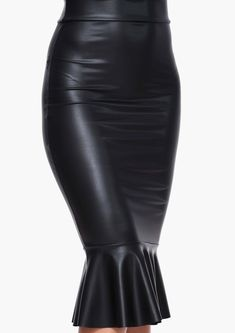 Faux Leather Mermaid Bodycon Midi Skirt in Black | Necessary Clothing
