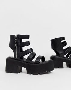 Lamoda black chunky cleated sandals