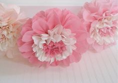 Sweethearts in Bloom 5 Giant Hanging Paper Flowers Hanging Paper Flowers, How To Make Paper Flowers, Tissue Paper Flowers, Diy Flowers, Fabric Flowers, Tissue Poms, Felt Flowers, Tissue Paper Decorations, Pink Party Decorations