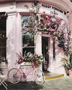 The pink frontage of a bakery located on 116 Ebury St., Belgravia, London