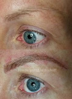 Ultra natural microblade eyebrow tattoo - by #lislboshoff #powderpuffmakeup Before and directly after - colour will soften when healed.  082 466 2429/ hello@powderpuffmakeup.co.za #microblading #strand #capetown #durbanville #bestbeautysalonindurbanville #skinandbodyboutique #permanentmakeup #microstroke #natural #hairstroke #eyebrowtattoo