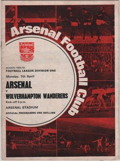 Vintage Football Programme - Arsenal v Wolverhampton Wanderers, 1968/69 season…
