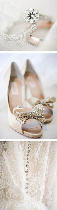 Sparkle wedding details, vintage lace, gold wedding shoes