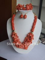 Beauty Hot Hanmake African Pink Coral Jewelry Set Coral Necklace Bracelet Earring Set