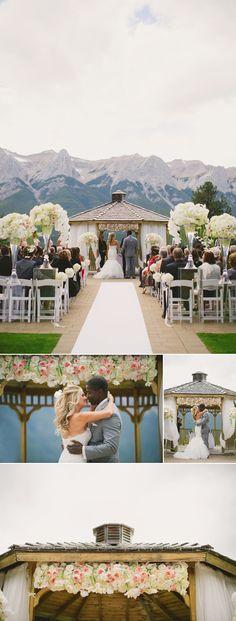 A beautiful mountain wedding ceremony at Silvertip Resort  Design: www.cherrytreeoccasions.com Photo: Corrina Walker Photography www.calgary-wedding-photographer.com/