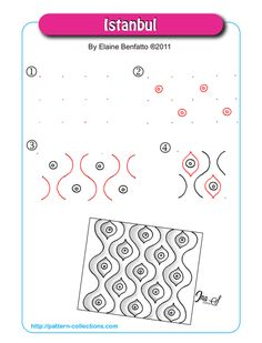 Istanbul-by-Elaine-Benfatto. Easy Zentangle Patterns, Zen Doodle Patterns, Tangle Doodle, Tangle Art, Doodle Art, Zentangle Drawings, Doodles Zentangles, Zentangle For Beginners, Tangled Flower