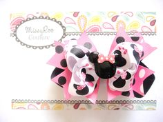 Disney Minnie Mouse Inspired Hairbow - Baby Girl Pink Black Minnie Mouse Birthday - Hairbows - Toddler Girls - SALE by MissyRooCouture on Etsy https://www.etsy.com/listing/165476399/disney-minnie-mouse-inspired-hairbow