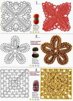 Como hacer módulos y flores en crochet - Revistas de crochet y tejidos gratis