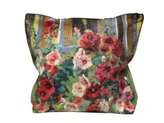 Hollyhocks Art In Bloom 2015 hand silk-screened tote bag 100% cotton canvas tote…
