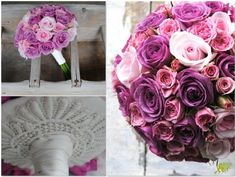 Ramo de novia compacto de  rosas lilas y rosas en diferentes colores, con u remate de encaje. Mayula Flores