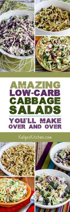 Amazing Low-Carb Cabbage Salads You'll Make Over and Over found on KalynsKitchen.com