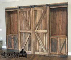 Entertainment Center made of Reclaimed Rustic Pine Barn Wood with Sliding Barn Doors, Made to Order Reclaimed Barn Wood, Old Wood, Sliding Barn Door Track, Barn Siding, Barn Wood Projects, Green Materials, Green Building, Entertainment Center, Basement