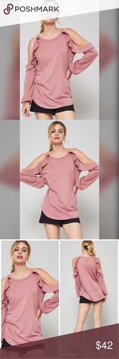 Hailey Mauve French Terry Top Made in USA Tops