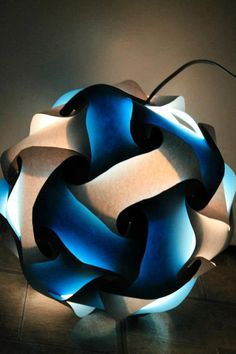Blue and White Puzzle Lamp by GetLightMe on Etsy