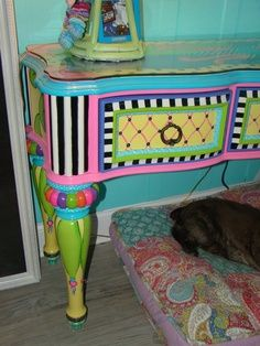 Funky+Hand+Painted+Furniture | love this table! Table by Eles, her products can be found on ...