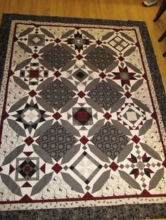 Beautiful black, white and a splash of red Cate's Quilts on Facebook and etsy