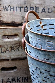 """rusticmeetsvintage: """"Vintage Wooden Crates and Zinc Grape Buckets by Holly Pickering, via Flick Vintage Wooden Crates, Wood Crates, Vintage Baskets, Wood Boxes, Olive Bucket, Purple Home, Galvanized Metal, Galvanized Buckets, Rustic Charm"""