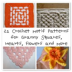 Need a #crochet motif? Here are 21 patterns to choose from. Flowers, hearts, squares and more.