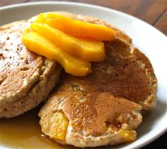 Powerhouse Peach Pancakes via food from the Pancakes packed with healthy ingredients like whole wheat flour, flaxseed and fresh fruit! Peach Pancakes, Whole Grain Flour, Flaxseed, Brunch Recipes, Fresh Fruit, Rolls, Lunch, Breakfast, Healthy