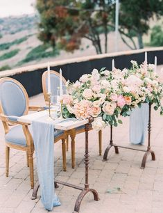 Perfect Blush and Blue Pastel Wedding at Catalina View Gardens – Style Me Pretty Pastel Blue Wedding, Blue Wedding Flowers, Floral Wedding, Wedding Colors, Pastel Weddings, Spring Weddings, Romantic Wedding Receptions, Wedding Themes, Wedding Decorations