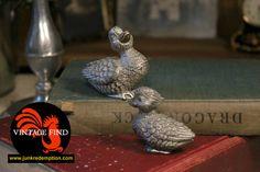 Vintage pewter figurine ducks