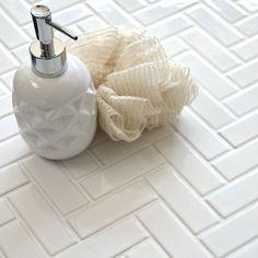 White Gloss Herringbone Mosaic Tiles Tiles