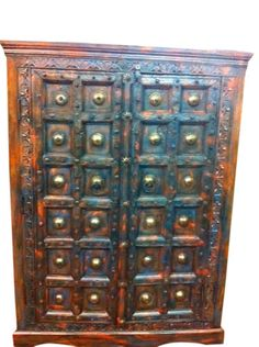 Old Door Brass Carved TV Cabinet Antique Armoire India in Antiques, Furniture, Armoires & Wardrobes, Indian Furniture, Rustic Furniture, Antique Furniture, Indian Bedding, Antique Armoire, Wood Cabinets, Architectural Elements, Teak Wood, Wood Crafts