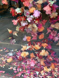 Flowers from Free People Fall 2013 window display.