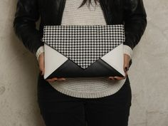 Clutch bag Letter Medium black white cheerful check by cocoonobags