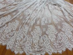 Vintage Chantilly Eyelash Fabric in White for Wedding gown, Mantilla veil, Bustier, Lace top, Bridal Dress Lace Fabric By The Yard