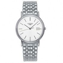 Longines Presence Quartz White Dial Date Stainless Steel Watch# L4.790.4.12.6 (Men Watch)