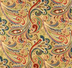 Fabric by The Yard Indoor Outdoor Casa Paisley Blue Red Green Brown Tan   eBay