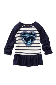 Jenna & Jessie | Heart Applique Raglan Top (Little Girls) | Nordstrom Rack