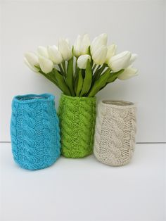 Hand Knitted Jar Cover/Cozy, Vase in Lime Green | SamandCharlie | madeit.com.au