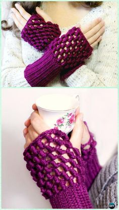 Crochet Bullion Stitch Fingerless Gloves Free Pattern - Crochet Bullion Stitch Free Patterns