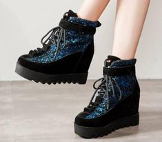 Womens Lace Up Bling Sequins Wedge Hidden Fashion Platform Casual Shoes Punk Shoes, Vintage Shoes, Casual Shoes, Ankle Boots, Sequins, Platform, Lace Up, Bling, Wedges
