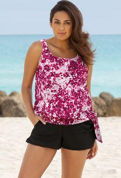 Beach Belle Blushing Blossom Plus Size Blouson Cargo Shortini