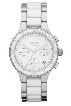 DKNY Ceramix NY8502 - Dame kronograf med keramik lænke. Super feminint ur med med hvid/sølv rem.